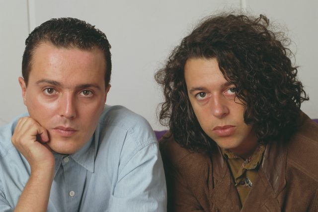Curt Smith (left) and Roland Orzabal of English pop duo Tears For Fears, posed together in London, April 1985. (Photo by Michael Putland/Getty Images)