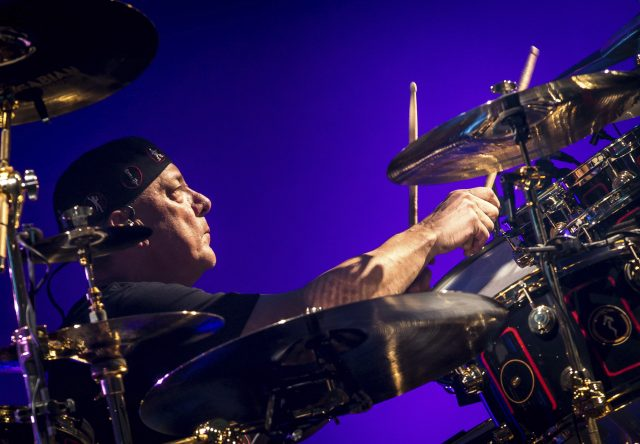 LAS VEGAS, NV - July 25: Neil Peart pictured as RUSH performs at The Grand Garden Arean at MGM Grand Resort in Las Vegas, NV on July 25, 2015. Credit: Erik Kabik Photography/ MediaPunch /IPX